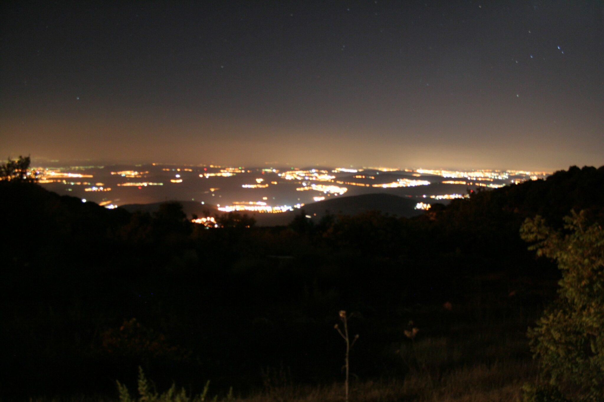 זיהום אור באזור מירון