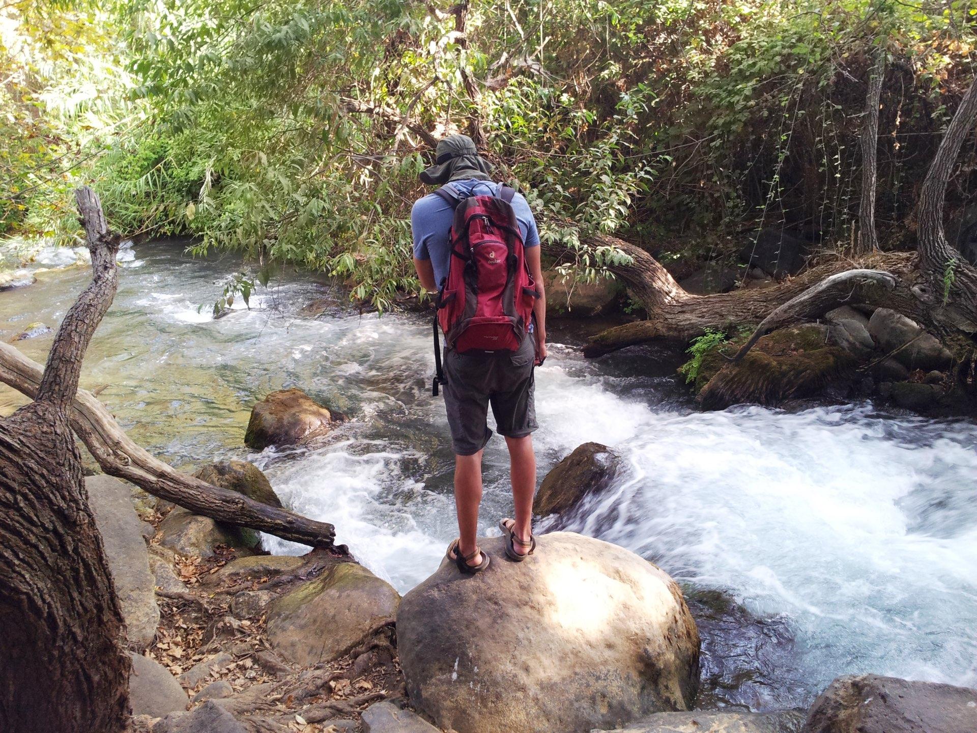 אדם מטייל בנחל הבניאס