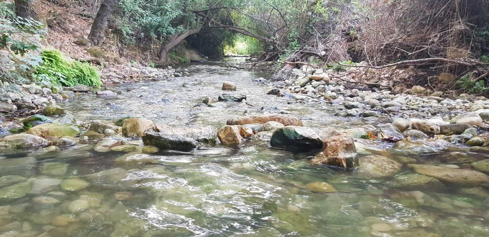 מים זורמים בין חלוקים בנחל כזיב