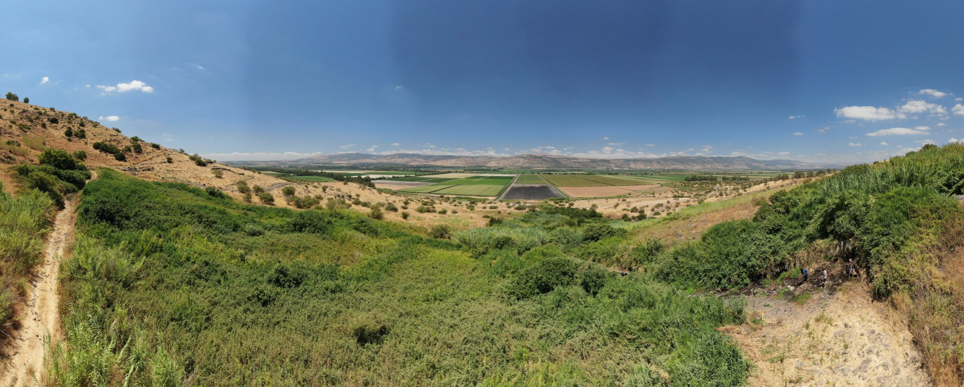 צילום נוף רחב מהאוויר של עין דבשה
